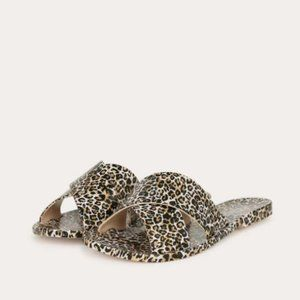 Shoes - Criss Cross Leopard Jelly Sandals